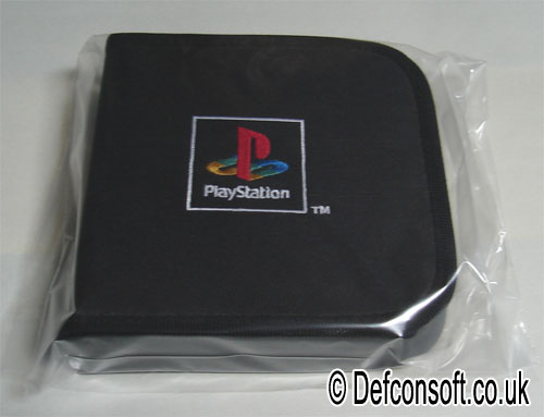 sony playstation 1 logo. this cd wallet, branded with the playstation 1 logo, holds up to 14 disks and has a handy netted storage area for memory cards. sony logo